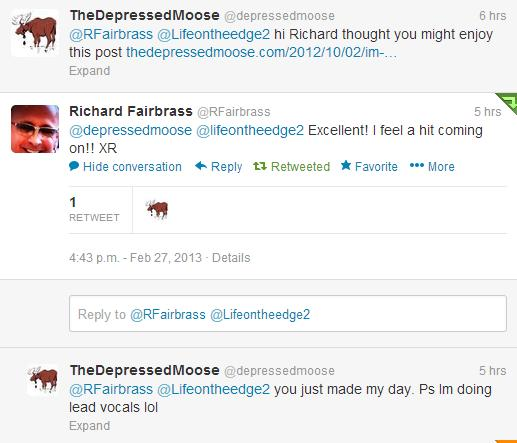 my twitter conversation with Richard Fairbrass